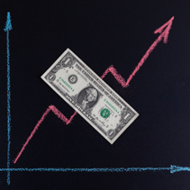 Upward trend chalk line graph drawing on blackboard with 1 USD bill on it and copy space. Finance and forex upward trend concept