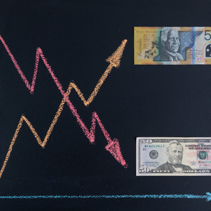 Forex currency trends concept - USD going down while AUD going up. Depicted with chalkboard line graph and paper currency.