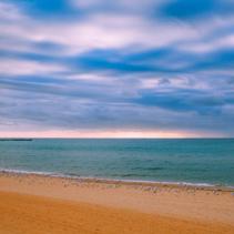 Seascape with many seagulls on sandy beach
