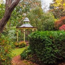 Empty gazebo in fall garden
