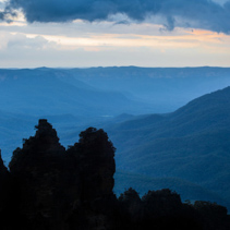 Famous Three Sisters rock formation silhouette in Blue Mountains