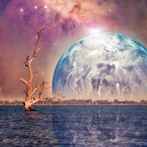 Unreal alien landscape - bare tree growing in water with rising planet. Elements of this image are furnished by NASA