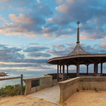 The Coppins Lookout gazebo at dusk