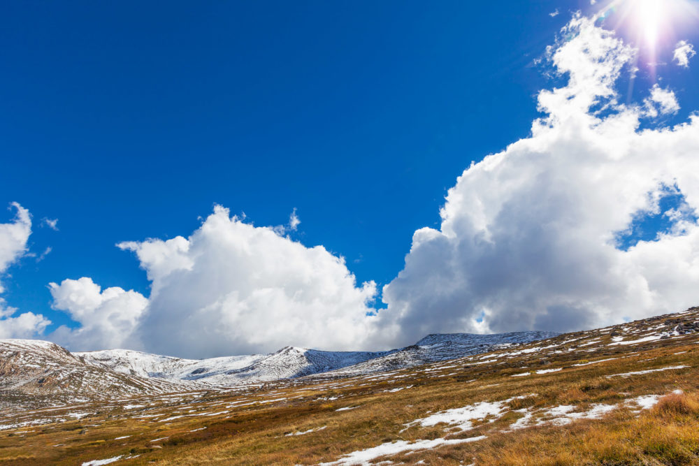 Beautiful white clouds and blue sky over Snowy Mountains, New So