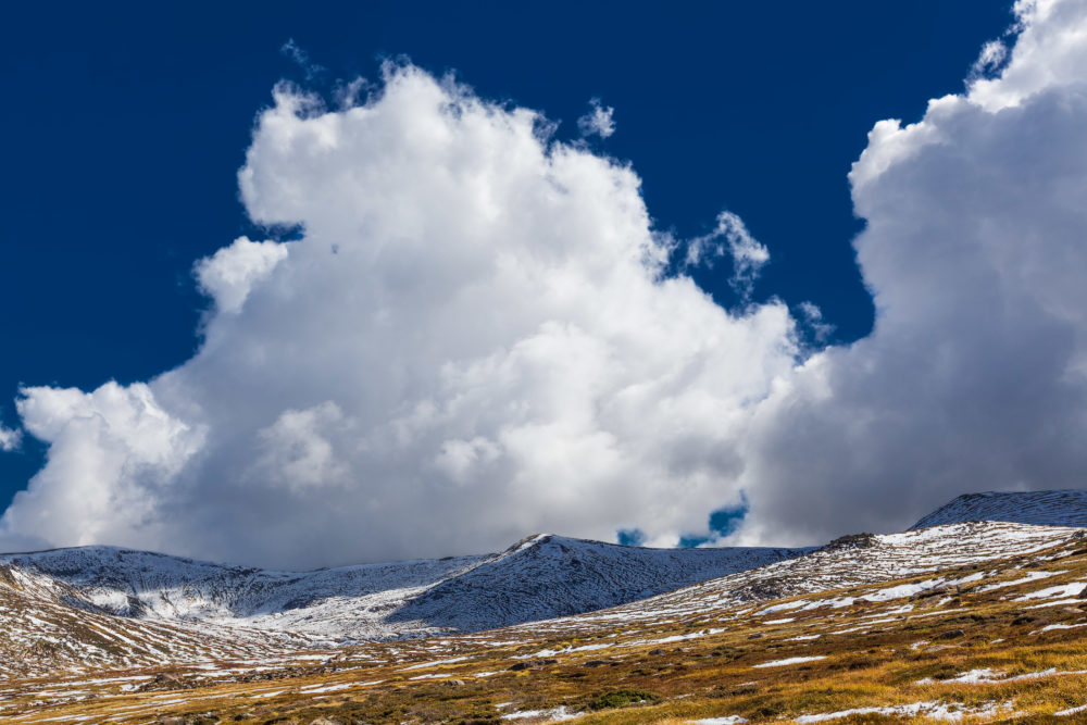 Magnificent white clouds over snow capped Australian Alps