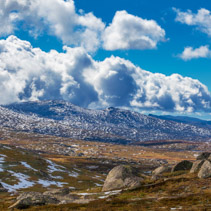 Mountains and clouds at Mount Kosciuszko National Park, Australi