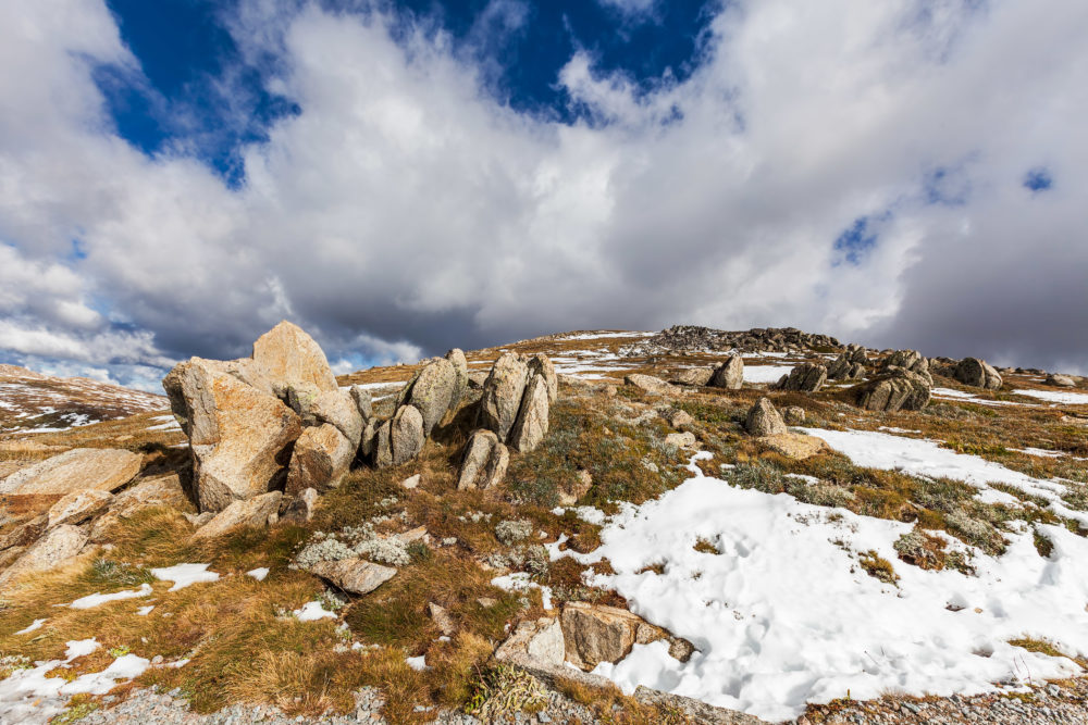 Clouds, snow, and rocks of Australian Alps