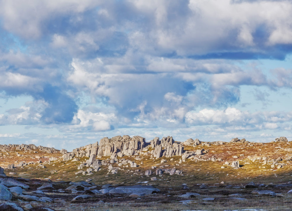 Rocky outcrops on bright sunny day near Mount Kosciuszko summit