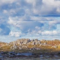 Rocky outcrops on bright sunny day near Mount Kosciuszko summit