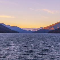 Beautiful lake and mountains at sunset in Australia