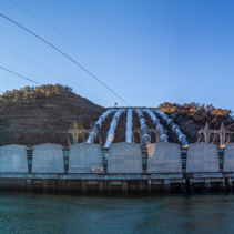 Tumut Power Station at sunset - wide panorama