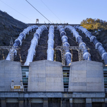 Tumut Power Station at sunset closeup