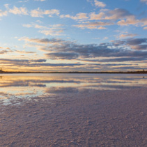 Australian pink salt Lake Crossbie at sunset