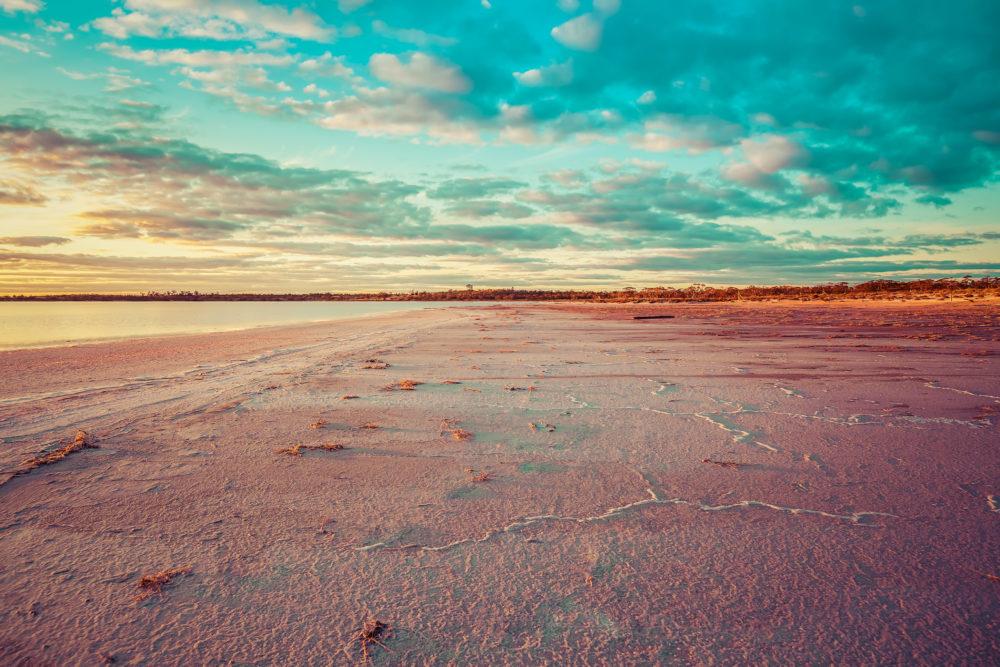 Pink salt Lake Crossbie at Sunset