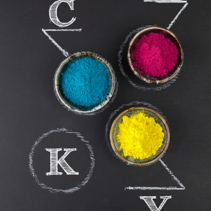 CMYK color scheme concept depicted with colorful dyed powder on chalkboard