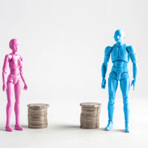 Male and female figurines standing next to equal piles of coins. Income equality concept.