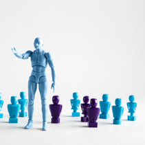 Male leadership concept portrayed with male and female figurines