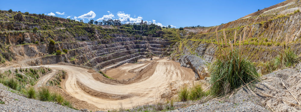 Wide panorama of limestone mine in Australia