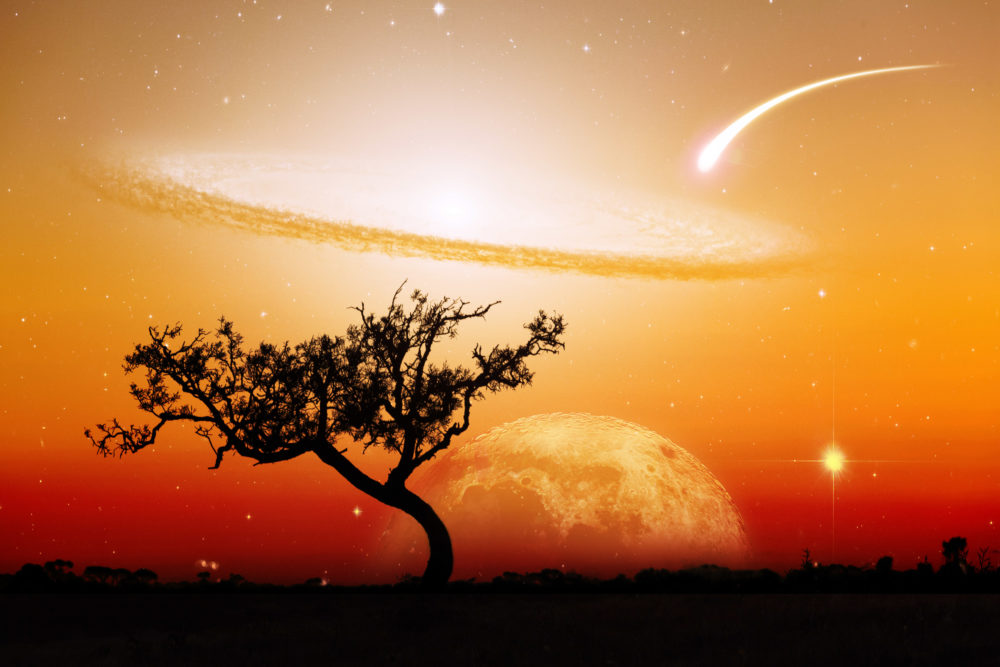 Unreal landscape of lone tree silhouette with planet and galaxy visible in vivid orange sky. Elements of this image are furnished by NASA