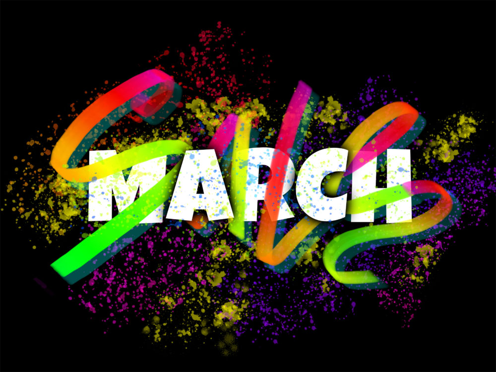 March sale sign made with glowing hand lettering and ink blots on dark background