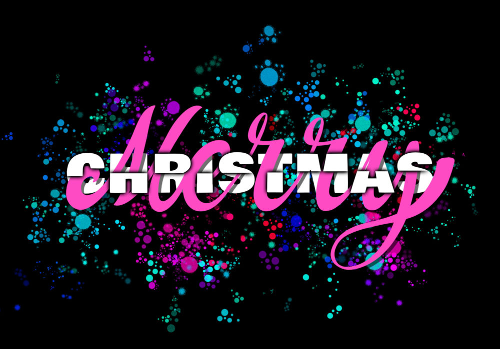Merry Christmas lettering with typography on black background