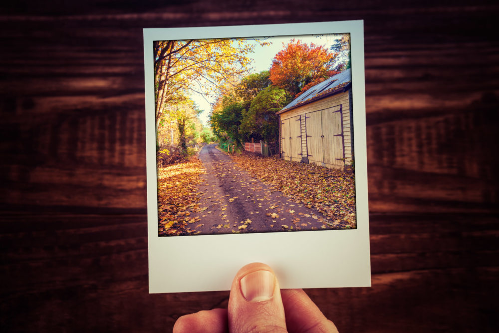 Male hand holdinginstant photo of rural road passing wooden shed