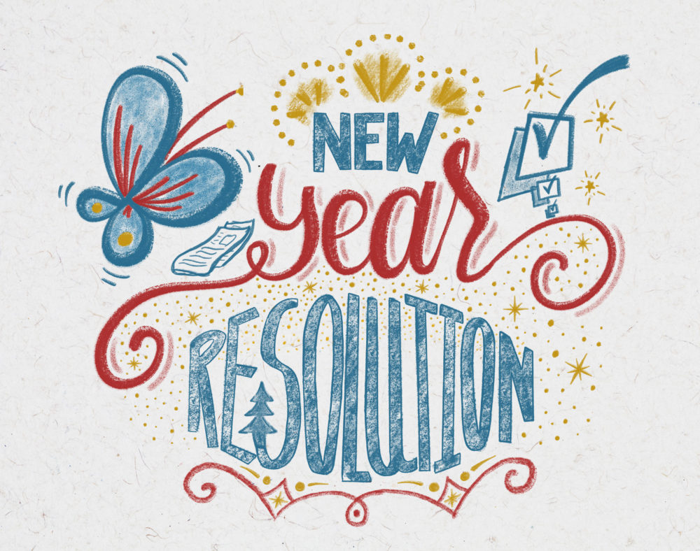 New Year Resolution hand lettering design