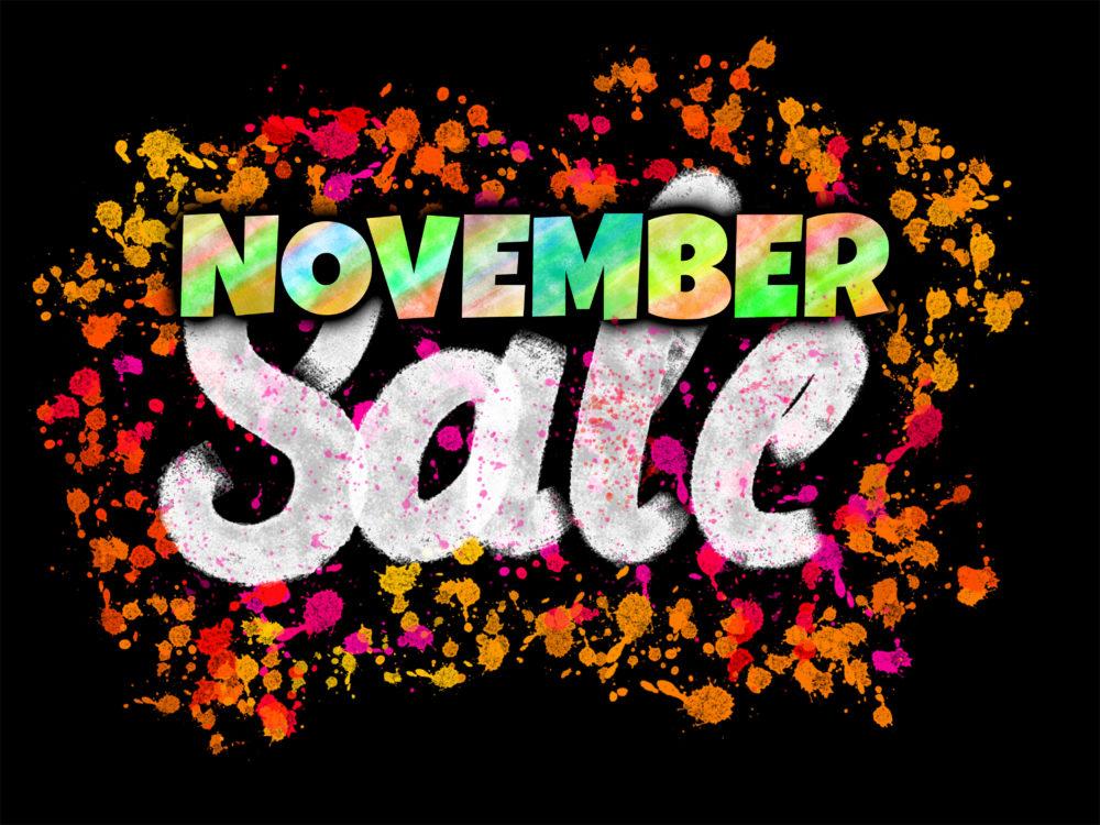 November Sale banner glowing on dark background