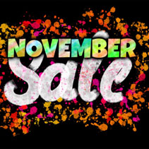 November Sale banner glowing on dark background
