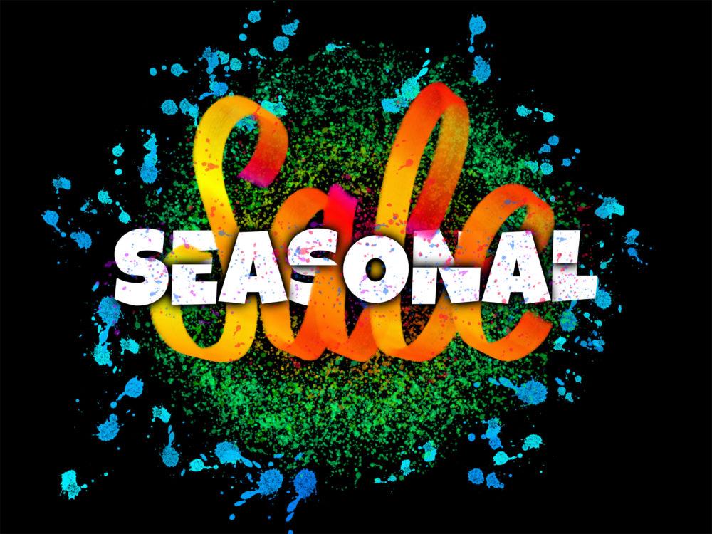 Seasonal Sale advertisement banner hand lettered on dark background