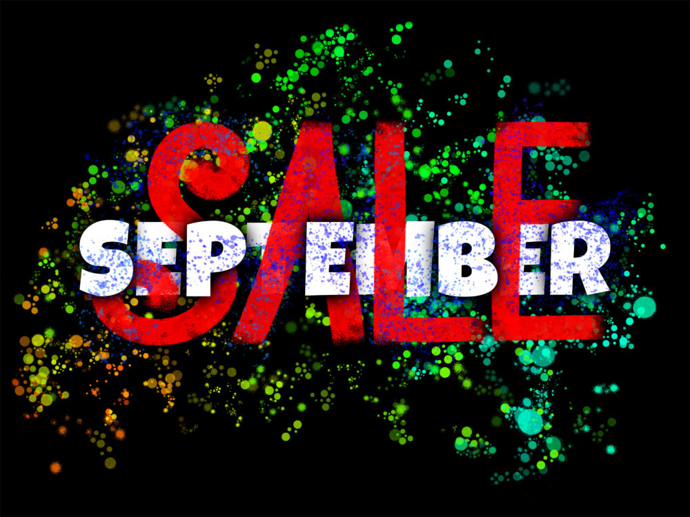 September Sale poster made with interweaving typography and hand lettering on black background