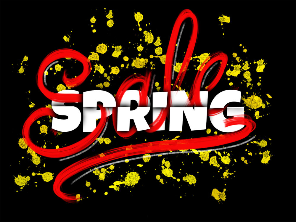 Spring Sale sign with typography, hand lettering and glowing ink blots on black background