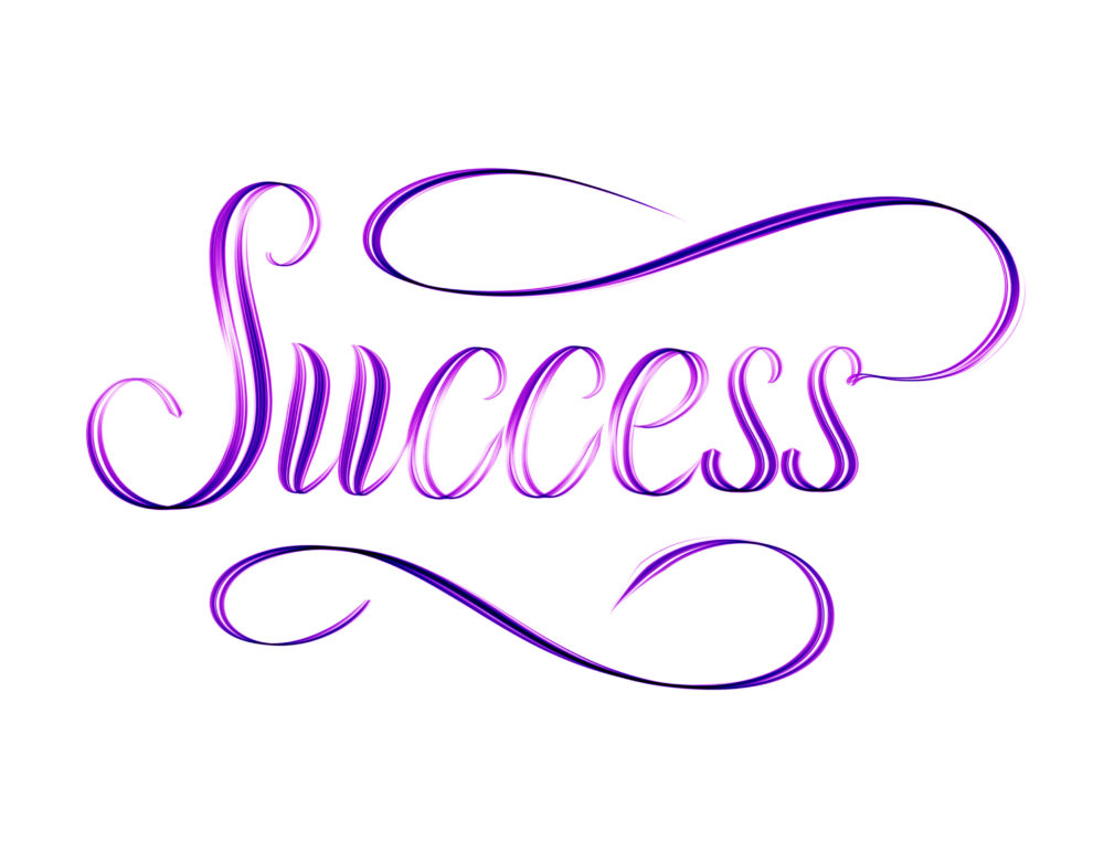 The word Success written in script - elegant motivational hand lettering
