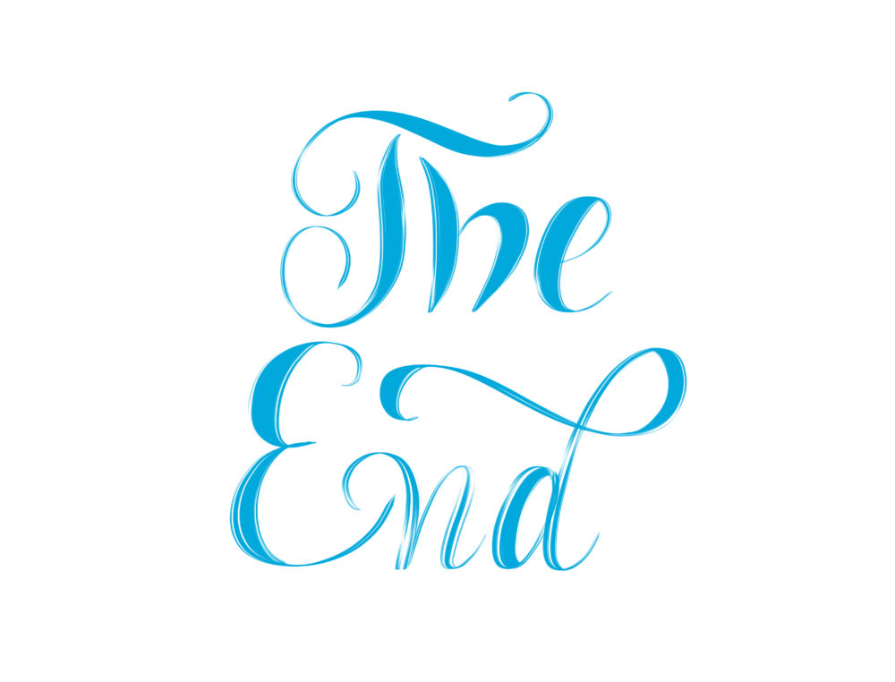 The End - blue hand lettering isolated on white background