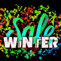 Winter Sale hand lettering with typography banner glowing on dark background