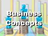 Business concepts figurines on coins