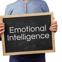 Emotional Intelligence issue depicted with child holding blackboard with text