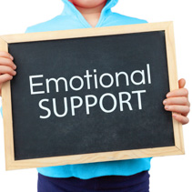 Emotional Support concept depicted with child holding blackboard with text
