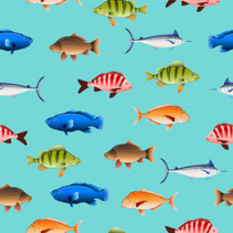 Various Australian fish seamless pattern on colored background