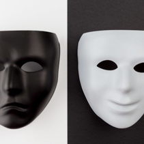 Theatrical masks expressing happy and sad emotions. Depression emotional concept.