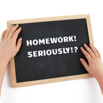 The issue of homework for children depicted with child hands and chalkboard with text isolated on white background