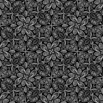 Line art hand drawn floral seamless pattern with leafs and branches