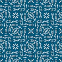 Sea fishes - hand drawn doodle seamless pattern tile