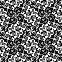 Abstract seamless hand drawn pattern in black and white