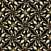 Golden branches and fruits - stylized hand drawn seamless pattern