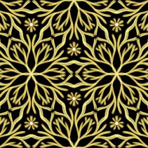 Tree branches and flowers glowing in the dark - hand drawn seamless pattern