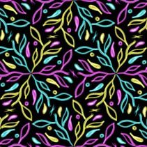 Glowing colorful leafs and branches - spring theme hand drawn seamless pattern