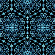 Flowers in winter frost and glow - hand drawn seamless pattern