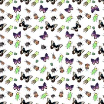 Butterflies, bugs, and beetles - colorful seamless vector pattern.