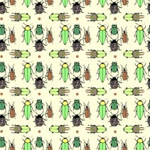Seamless decorative vector pttern with bugs and beetles